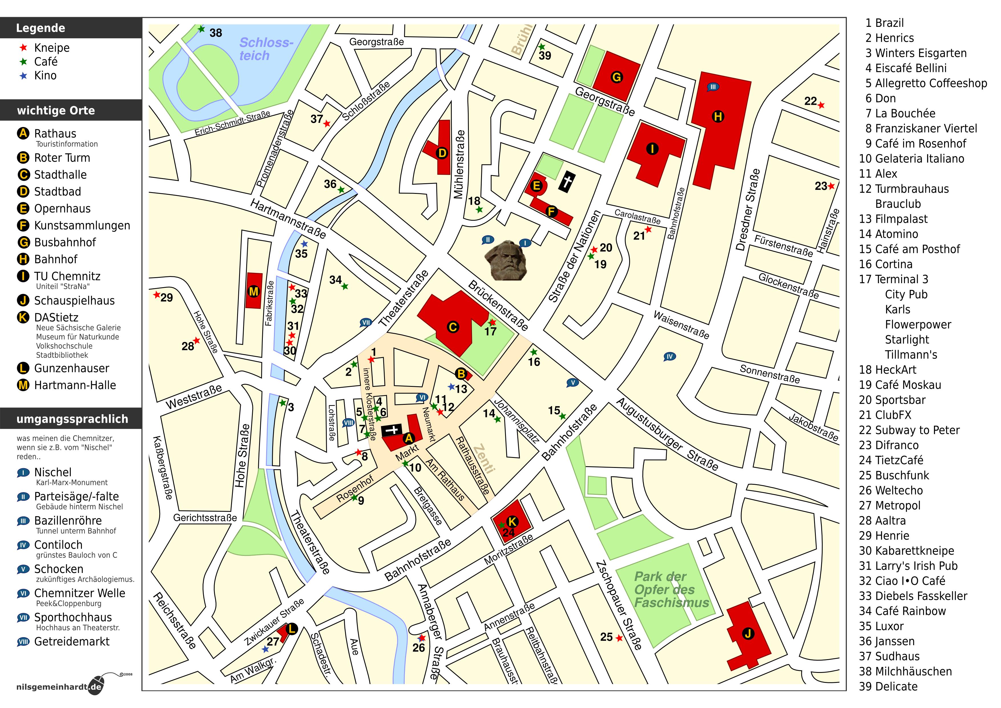 Karte Chemnitz.Mit Kneipenkarte Durch Chemnitz Studieren In Chemnitz